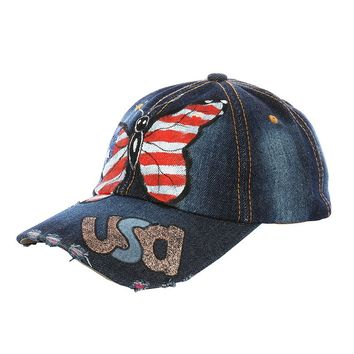 USA BUTTERFLYHAT AND CAP DISTRESSED DENIM