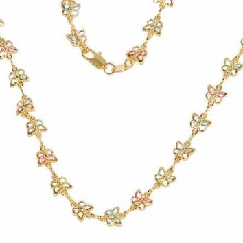 1-1604-D1-bn Multicolor Butterfly Necklace