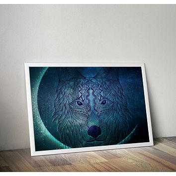 Wolf Moon Tapestry Blue Green Distressed Art Yoga Grunge Hippie Poster Design no frame 20x30 Large