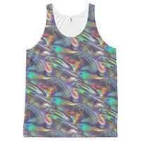 holographic silver tank top shirt All-Over print tank top