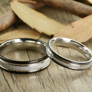 Express service, Special Custom Christmas Gifts ,Valentine's Day Gifts, His and Her Promise Rings , Black Wedding Titanium Rings Set