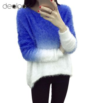 New Fashion 2018 Women Elegant Gradient Color Knitted Mohair Sweaters And Pullovers Ladies Warm Autumn Winter Knitwear