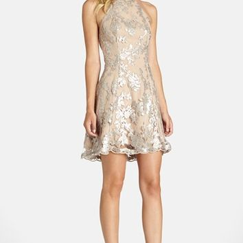 Women's Dress the Population 'Abbie' Sequin Fit & Flare Dress,