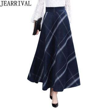 2018 New Winter Fashion Plaid Wool Warm Long Skirt Women High Waist Casual Vintage Elastic Thicken Maxi Skirt Saia Faldas Mujer
