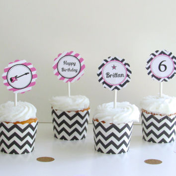 Pink Rockstar Birthday Party: Printable Cupcake Toppers