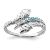 Sterling Silver Sky Blue Topaz Snake Ring