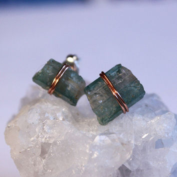 Copper Wire Watermelon Tourmaline Crystal Stud Earrings, Bohemian Hippie Yoga Jewelry, Healing crystals and stones, Christmas Gift for Her