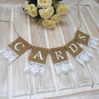 Card Banner Wedding Cards Banner Rustic Card Banner Burlap and Lace Card Box Banner Shabby chic Card Box Banners