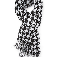FOREVER 21 Fringed Houndstooth Scarf Black/White One