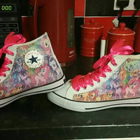 My Little Pony Converse All Star Hi Tops Chucks Bling Sneakers Pink Purple Ribbon Laces Disney Cyber Goth Neon