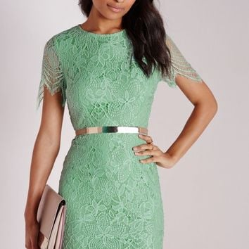 LACE SHORT SLEEVE BODYCON DRESS MINT