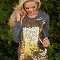 Glam It Up Sequins Charcoal Gray Hoodie