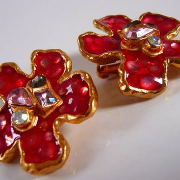 CHRISTIAN LACROIX Bijoux clip earrings | enameled glass gold tone | vintage Paris statement jewelry | gripoix bijoux | French couture runway