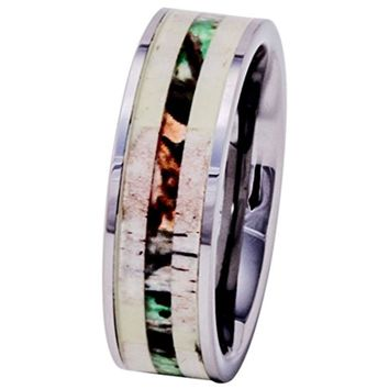 CERTIFIED 8mm Deer Antler Ring Tungsten with Camo Wood Inlay Wedding Band