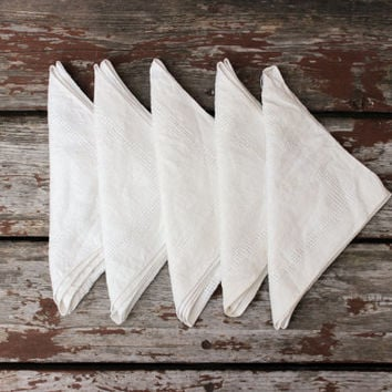 Vintage Set of Five (5) Linen Napkins | Cream Off-White | DIY Wedding Decor | Romantic Country Chic