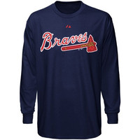 Majestic Atlanta Braves Navy Blue Wordmark Long Sleeve T-shirt