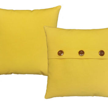 Set of 2 Bright Yellow Cotton Canvas Pillow Covers and or Cushions - Available in 14x14, 16x16, 18x18 and 20x20 inches