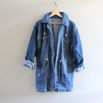 80s Denim Parka Jacket  Waist Drawstring Hooded Denim Jacket Unisex Vintage 80s Size L #127A