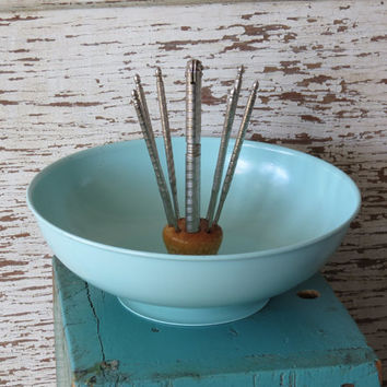 HMQ Metal Nut Bowl with Nutcracker and Picks • 1950s Turquoise Aqua • HM Quackenbush Inc • Herkimer NY • Mid Century Nut Bowl • Great Color