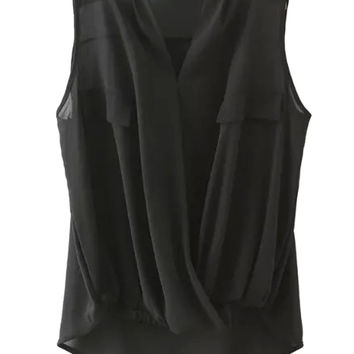 Black V-neck Wrap Ruched Sleeveless Chiffon Blouse