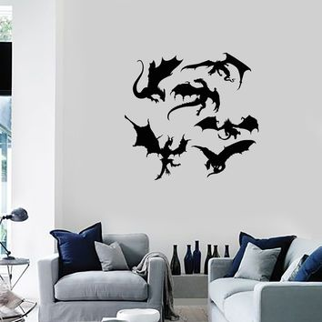Vinyl Wall Decal Dragons Silhouette Fantasy Art Child Room Kids Stickers Mural (ig5460)