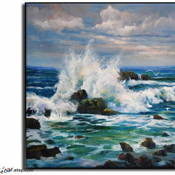Oil Painting, Landscape Painting, Seascape Art, Original Painting Canvas Art  Wall Art, Canvas Painting Ocean Art