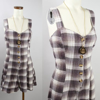 Vintage - 90s - Brown & White - Plaid Flannel - Sweetheart - Button Up - Mini - Short Dress - Grunge Revival