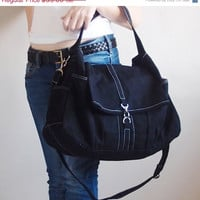 FALL SALE Classic in Black - Shoulder Bag / Hobo / Tote / Purse / Messenger / Handbag / Diapers Bag / Hip Bag / School / Women / For Her