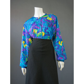 Vintage 80s Blouse, Abstract Print Satin Jacquard Statement Blouse, Long Sleeve Oversize Shirt, Aqua Blue Yellow Green Purple 1980s Blouse