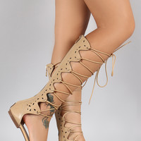 Perforated Lace Up Gladiator Knee High Flat Sandal