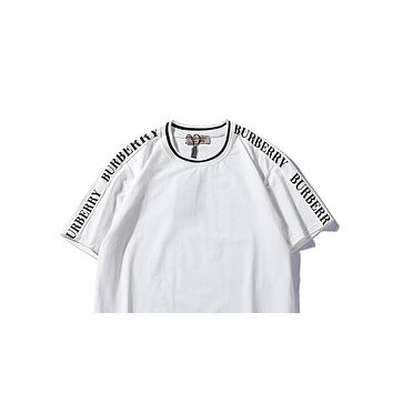 Burberry 2019 new men and women models solid color round neck letter half sleeve shirt White