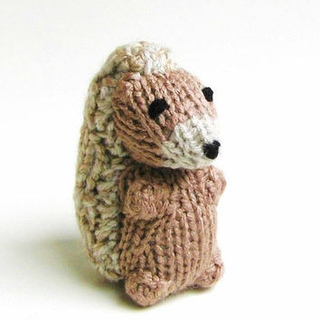 Miniature Hedgehog - Hand Knit Amigurumi Stuffed Animal - Kids Toy - Plush Doll