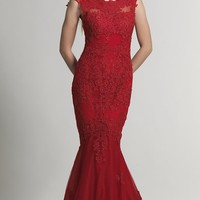 Dave and Johnny Long Red Lace V-Back Mermaid Dress