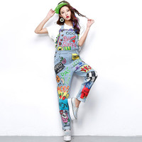 Graffiti Printed Loose Denim Overalls