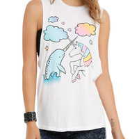 Narwhal Unicorn Friends Girls Muscle Top