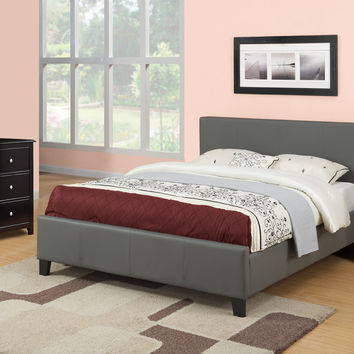 Poundex Queen Upholstered Bed Gray