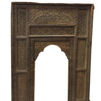 Jaipur Arch Carved Antique Welcome Gate Teak Vintage Architectural Indian Doorway