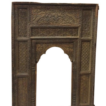Antique Welcome Gate Arch Frame Teak Wood Pecock Carved Furniture-Indian Inspired