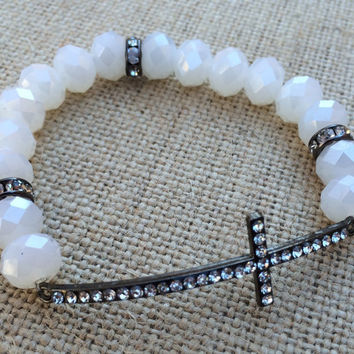 White Beaded Cross Bracelet, Cross Bracelet, Sideways Cross Bracelet, White Faceted Beaded Bracelet