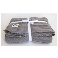 Cable Knit Throw - Light Grey