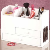 White Wooden Beauty Organizer Table Top Vanity Dressing Room Makeup Brush Nail Polish  White