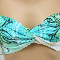 painting print swimsuit spandex twisted lycra bandeau strappless bra bikini top swimwear bandeau bikini girly accessories