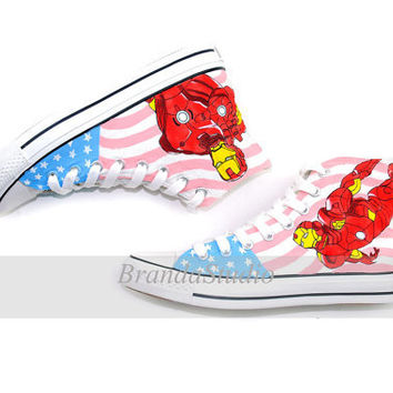 Iron Man Custom Hand Painted Canvas High Top by Brandastudio