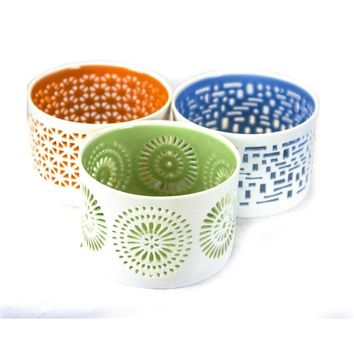 Ceramic Votive Candle Holders, Assortment Of 3, Multicolor