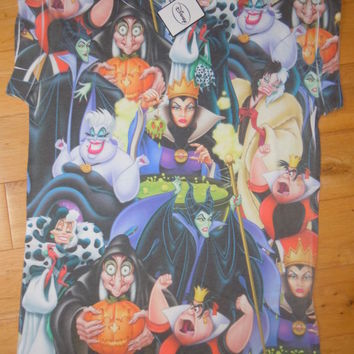 Primark Disney VILLAINS COLLAGE URSULA EVIL QUEEN MALEFICENT LADIES T-SHIRT NEW