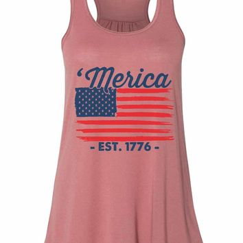 Merica Est,1776 - Bella Canvas Womens Tank Top - Gathered Back & Super Soft