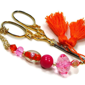 Scissor Fob, Beaded, Pink, Orange, Scissor Keeper, Scissor Minder, Craft Accessory, Sewing, Quilting, Cross Stitch, Needlepoint