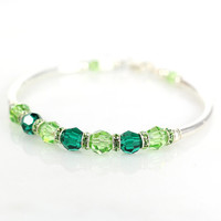 Green crystal and sterling silver fitted bracelet