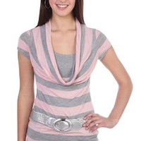 striped deep cowl half belted 2fer with solid tank inset - 91000045100 - debshops.com