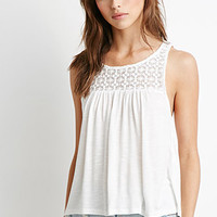 Floral Crochet-Trimmed Tank
